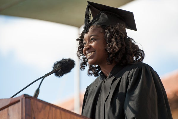 Student Jessica Anderson speaking at Opening Convocation