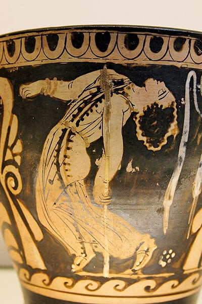 Dancing maenad on ancient Greek vase