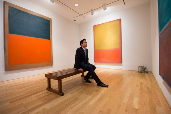 student Brady Magaoay in Rothko room at Phillips Collection