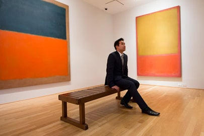 student Brady Magaoay in Rothko room at Phillips Collection / L.A. Cicero