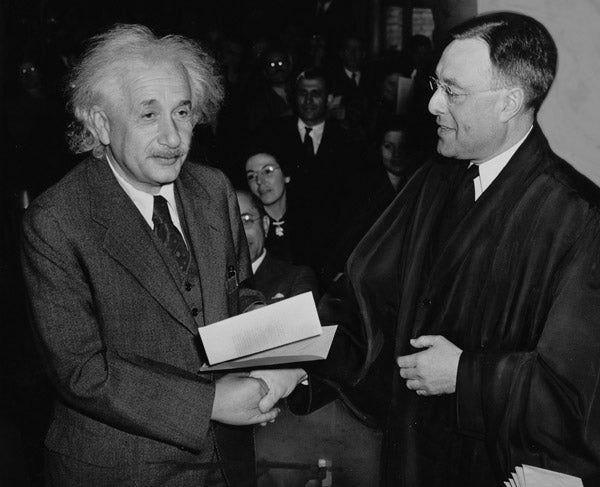 Albert Einstein receives certificate of U.S. citizenship