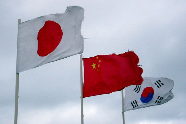 Flags of Japan, China, Korea