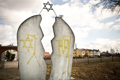 Memorial in Poland stained with anti-Semitic vandalism / Jendrzej Wojnar/AP