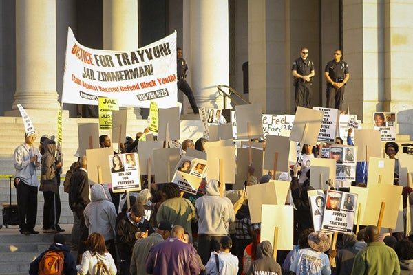 Marchers support Trayvon Martin at LA City Hall