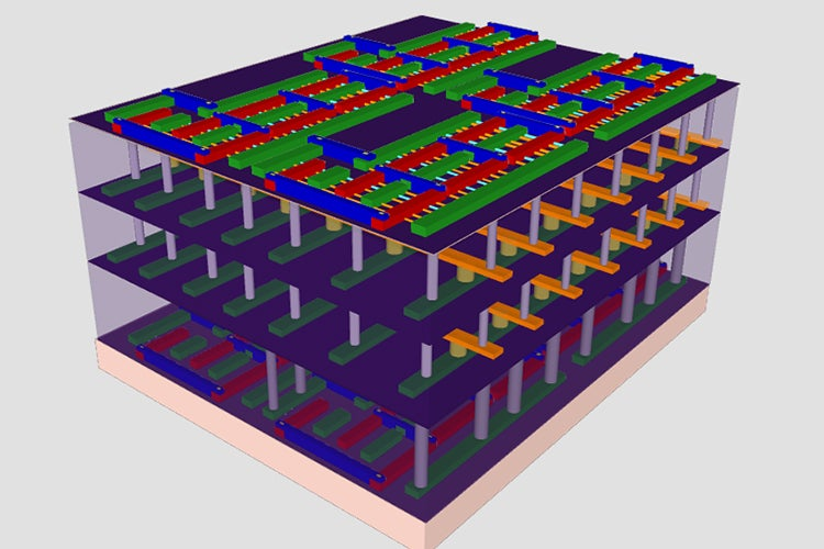 representation of four-layer high-rise chip