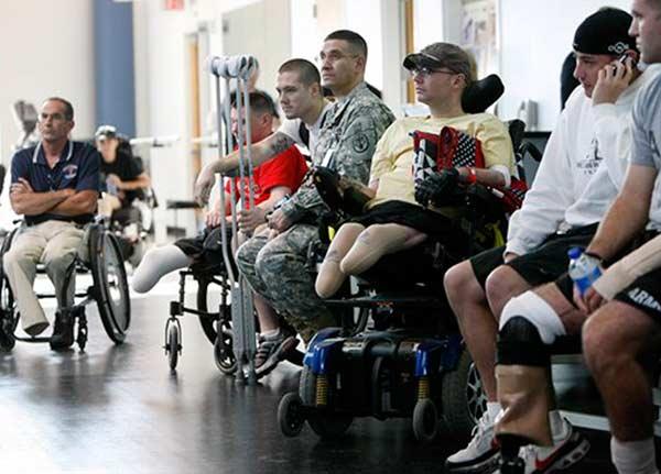Disabled veterans waiting in a line