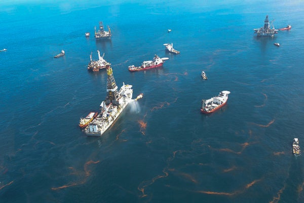 view of oil spill