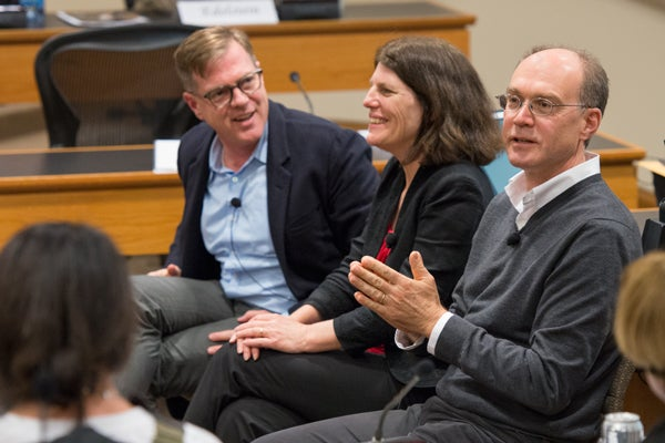 Mitchell Stevens, left, Candace Thille and John Mitchell,
