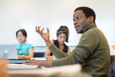 Alvan Ikoku speaking in a classroom / L.A. Cicero