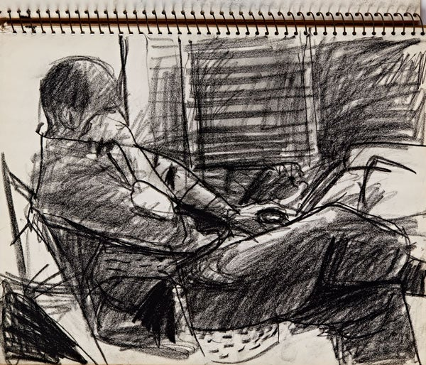 Richard Diebenkorn (U.S.A., 1922–1993), Untitled (Man seated near window), 1943–1993. Charcoal on paper