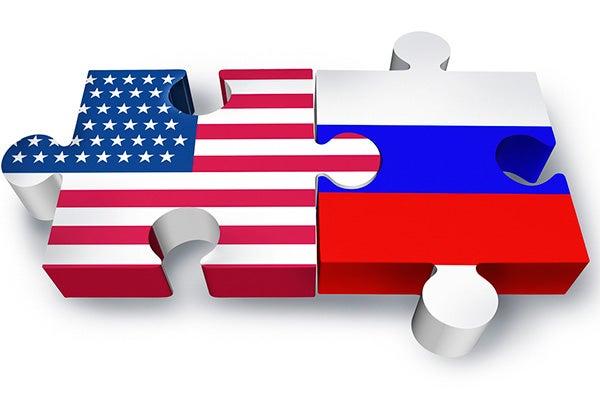 US, Russian flags