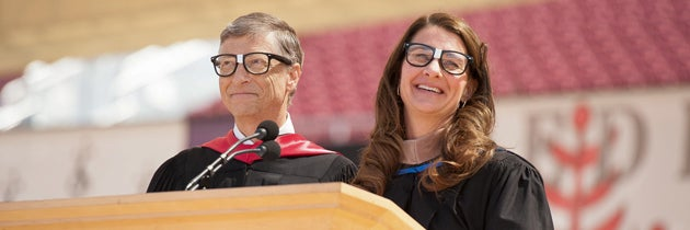 Bill and Melinda Gates wearing 'nerd' glasses