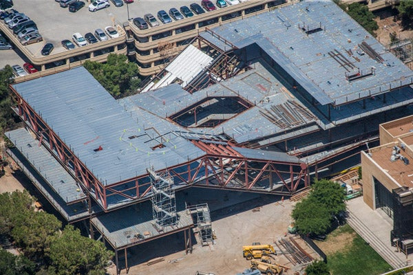 Aerial view of the McMurtry Building construction