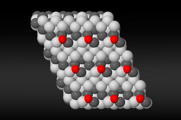artist's rendering of nickel-gallium active site