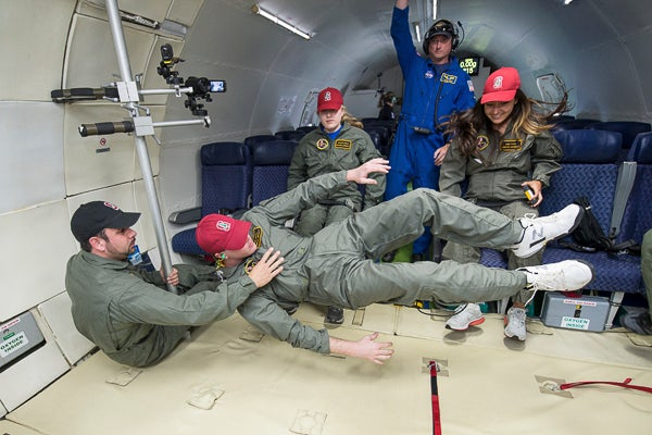 Stanford researchers on the 'vomit comet'