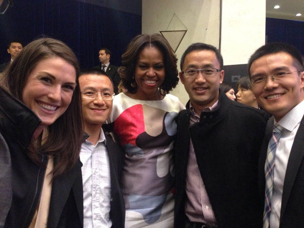 Michelle Obama with Stanford students at SCPKU