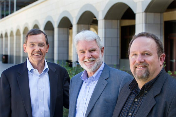 Richard Luthy, Tom Zigterman and Craig Criddle in front of the Y2E2 building at Stanford.