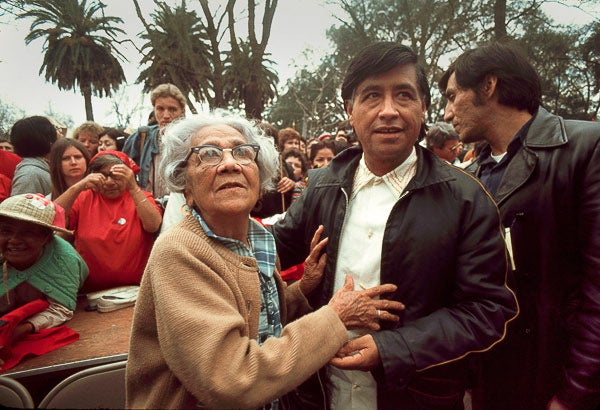 Cesar Chavez with mother
