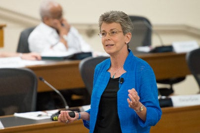 Patricia Gumport speaking to the Faculty Senate./Photo: L.A. Cicero