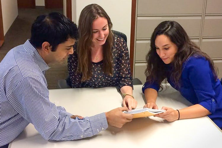 Stanford law students Al Montelongo, Kara McBride and Natalia Renta