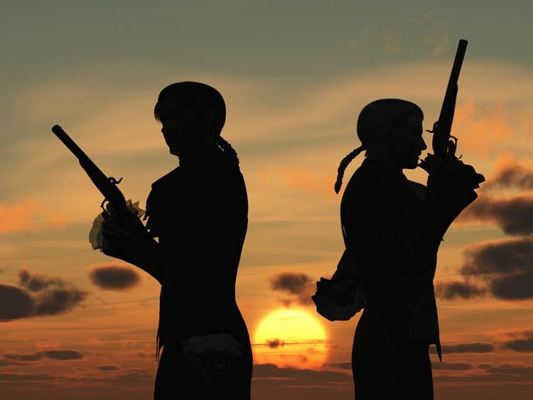duelers in silhouette