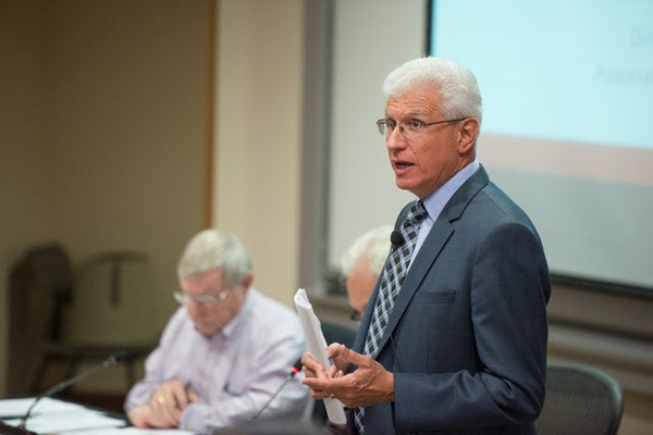 Ira M. Friedman speaking to the Faculty Senate