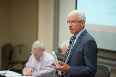 Ira M. Friedman speaking to the Faculty Senate. /Photo: L.A. Cicero