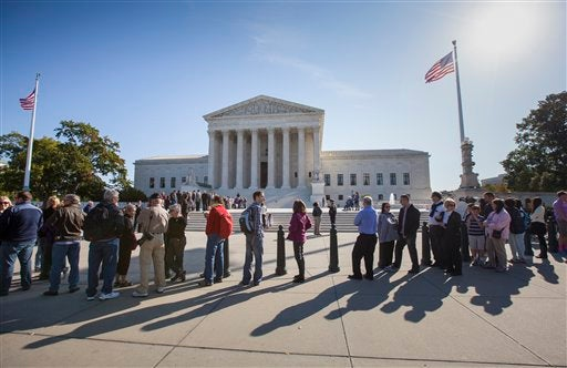 people waiting to enter the Supreme Court