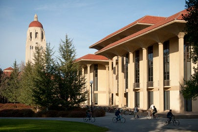 Exterior of Meyer Library with Hoover Tower in the background / Photo: L.A. Cicero
