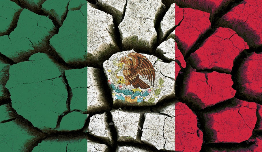 Mexican flag and parched earth