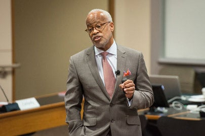 Harry Elam speaking to the Faculty Senate / Photo: L.A. Cicero
