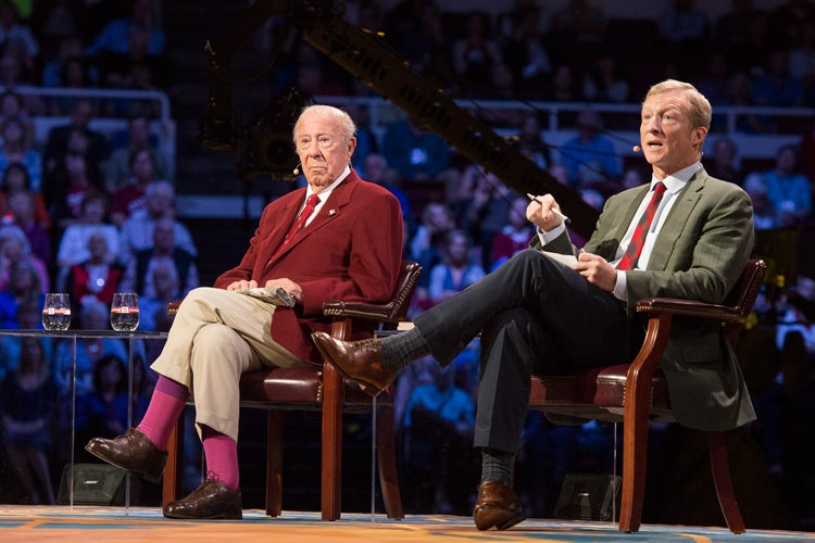 George Shultz, Tom Steyer