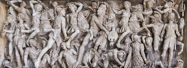 Marble sarcophagus showing Amazons fighting Greek warriors