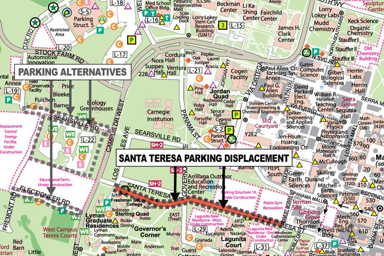 map of street closure and new parking lot