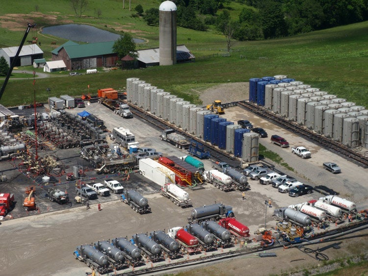 Fracking operations near a farm in Pennsylvania