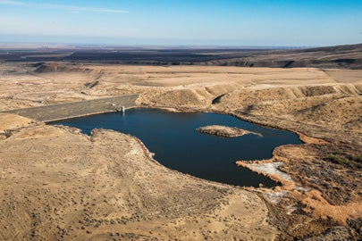 Little Panoche Reservoir and Dam during drought in Feb 2014 / Florence Low