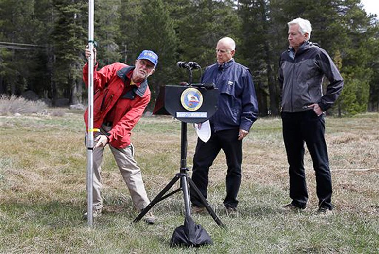 California officials observing lack of snow on Echo Summit on April 1, 2015