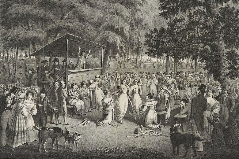 religious camp meeting ca. 1829 / H. Bridport/Wikimedia
