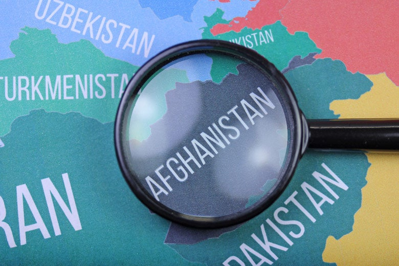 map with Afghanistan under the magnifying glass