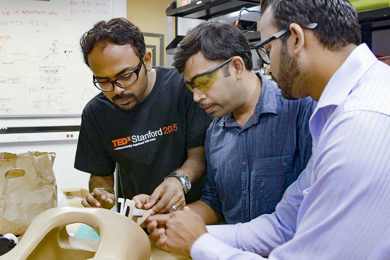 Stanford-India Biodesign fellows Debayan Saha, Shashi Ranjan and Harsh Sheth / Kurt Hickman