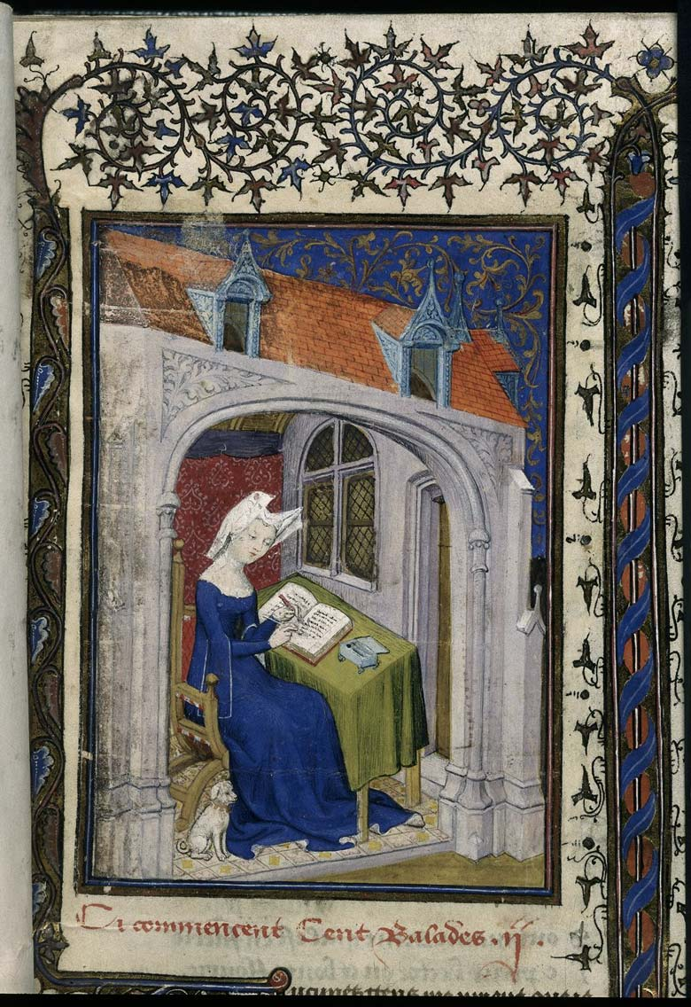 Detail of a miniature of Christine de Pizan in her study