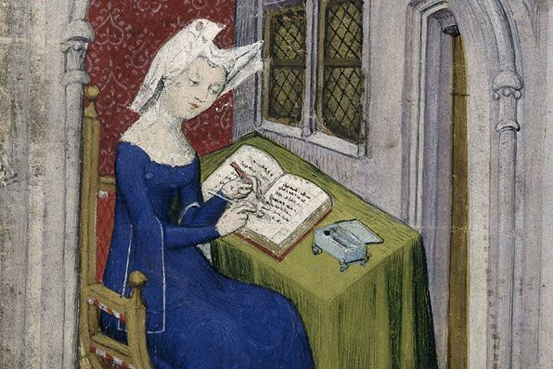 Detail of a miniature of Christine de Pizan in her study / The British Library