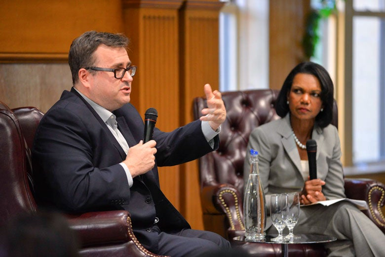Cyber Boot Camp keynote speaker Reid Hoffman with Condoleezza Rice