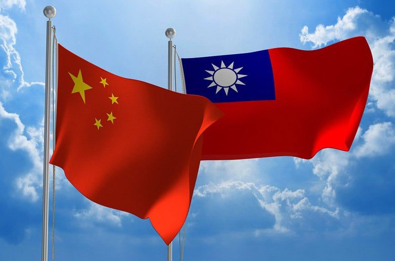 Taiwanese and Chinese flags