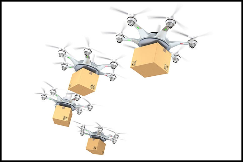delivery drones with packages