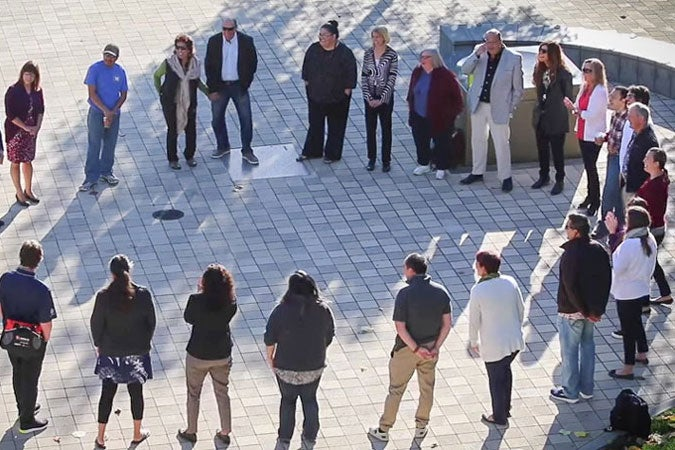 fellows of First Nations' Futures Institute gathered in a circle / Rob Jordan