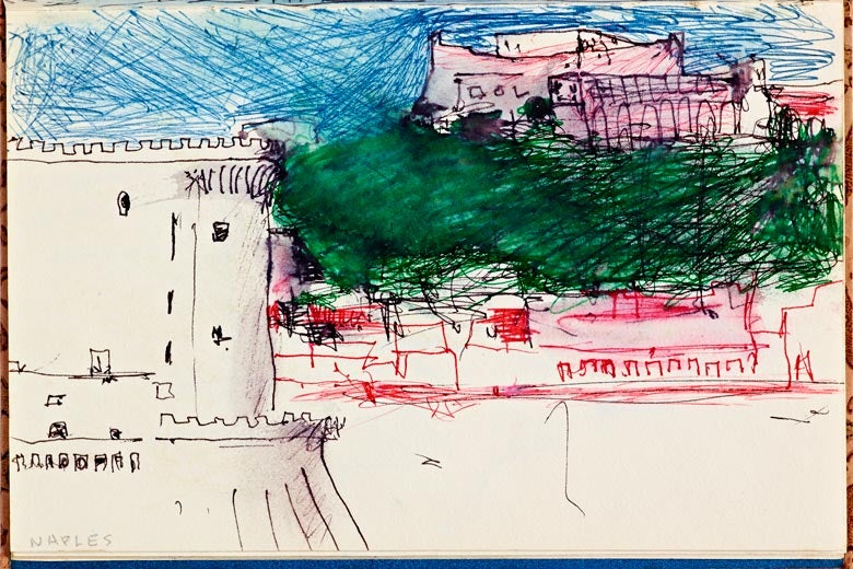 Untitled skech by Ricard Diebenkorn of some castle-like buildings and trees / Cantor Arts Center