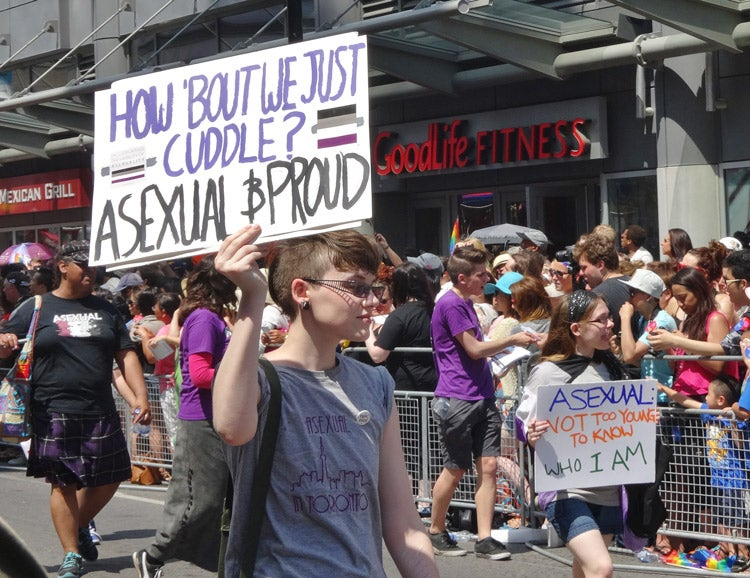 Asexual marchers at World Pride Parade Toronto 2014