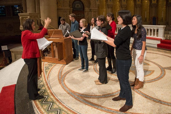 Stanford music lecturer Marie-Louise Catsalis and students.