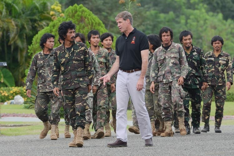 scholar Joe Felter with members of the First Scout Ranger Regiment, Philippine Army